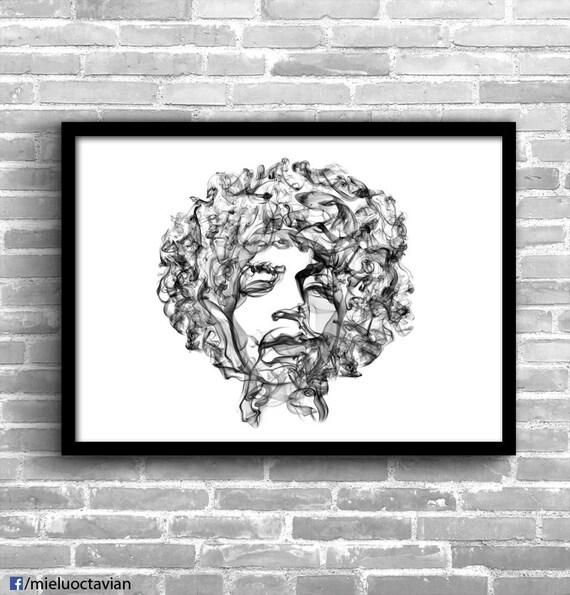 Jimi Hendrix Art Poster Wall
