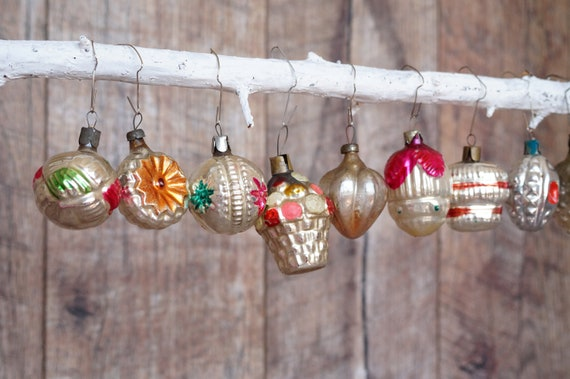Vintage Christmas Decorations 1950s.Antique Christmas Ornaments 1950s Christmas Decorations Soviet Christmas Set Of 9 New Year Gift Vintage Glass Ornaments