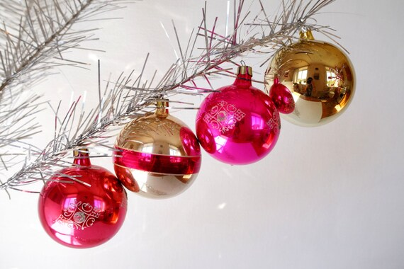 christmas balls glass ornaments set of 4 vintage balls pink etsy