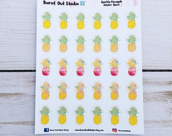 Sparkly Pineapple Planner Stickers - Quarter sheet