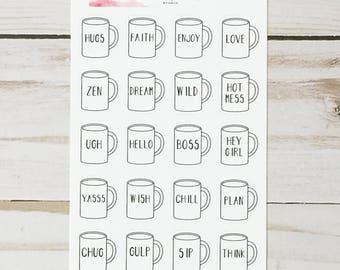 Rae Dunn Inspired Coffee Mug Planner Stickers