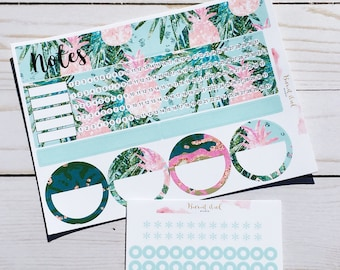 EC Monthly Notes Page Sticker Set - Tropical Pineapple
