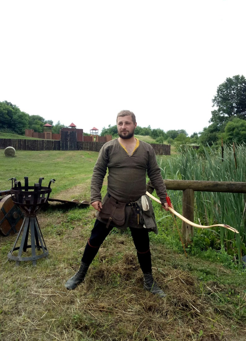 Medieval Bow Historical Wooden Archery Functional Longbow Outdoor  Recreation Shooting Bow Traditional SCA Knight's Hunting Recurve Bow