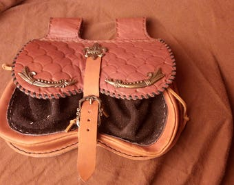 Replica Medieval Hip Leather Belt Bag, SCA 13-14th Bag, Medieval Reenactor Handbag, Leather Hip Bag, Leather Belt Wallet, Medieval Wallet,