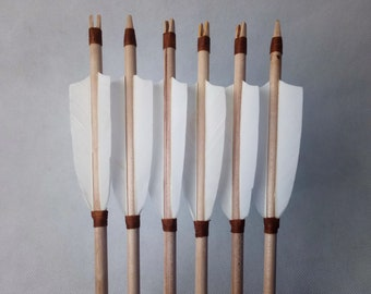 Arrows Historical Wooden White Feathers, Fantasy Cosplay Shooting Youth Arrows, Hunting Ash Traditional Arrow 2 to 20 Set, Archery Equipment