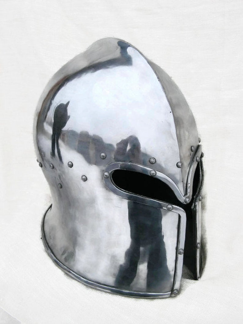 SCA Combat Helmet Knight's Protection HMB Helmet IMCF Medieval Fighters  Helm Hardened Steel Armor Knights Cosplay Armored Combat League Helm