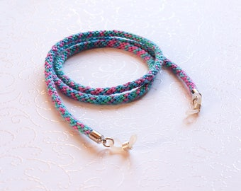 Multicolored eyeglass cord, rainbow eyeglass cord, eyeglass chain, glasses lanyard, glasses chain, sunglasses chain, glasses holder