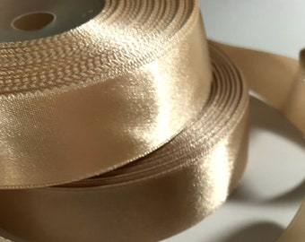Champagne gold ribbon 1/4, 1 in Satin ribbon trim Dark Light Champagne ribbon Wedding decorations cake ribbon Invitation card Gift wrapping
