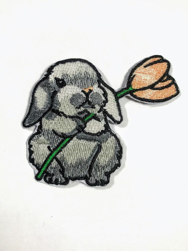 Bunny patch Iron on/ Little Rabbit appliqué/ Length 2.4 inches 2 Little Bunnies