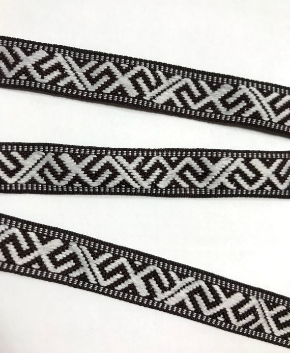 1m black silver embroidered ribbon applique motif trimming decor Indian