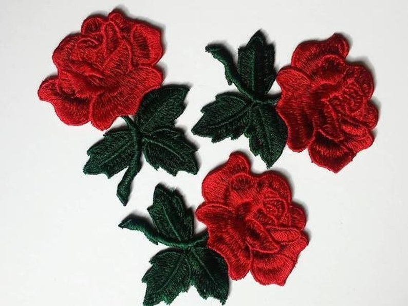 Floral Patches EmbroideryAppliqué Patches Flower Iron On Patch three roses
