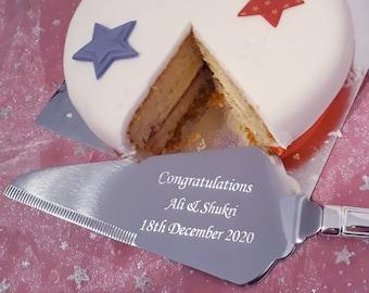 Engraved Cake Slice Server - Personalised Custom Wedding, Anniversary, Birthday, Christening, Baker, Housewarming, Retirement, Leaving Gift