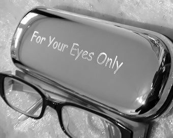 Personalised  Silver Chrome Metal Hard Glasses, Spectacles Case, Box - Custom Text. Gift for Dad.