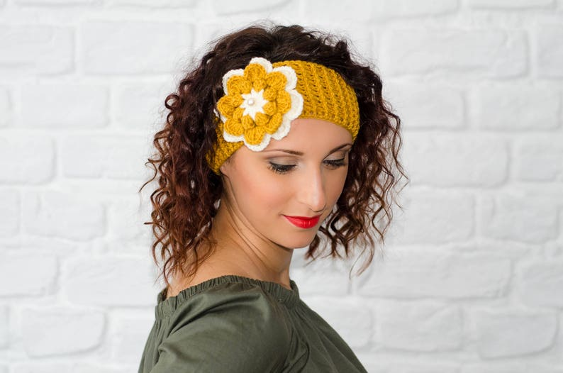 Mustard Headband Flower Headband Crochet Headband Winter Etsy