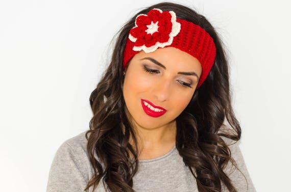 Red Flower Headband Winter Headband Headband With Flower Etsy