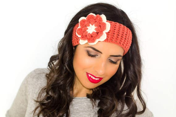 Blumenstirnband gestricktes Stirnband Stirnband mit Blume | Etsy