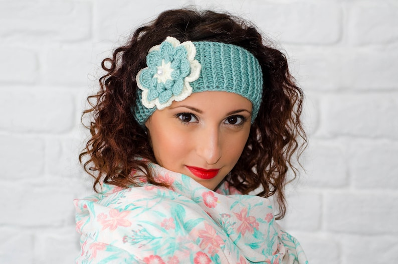9d02b9d220f8 Knit flower headband womens headbands crochet headband
