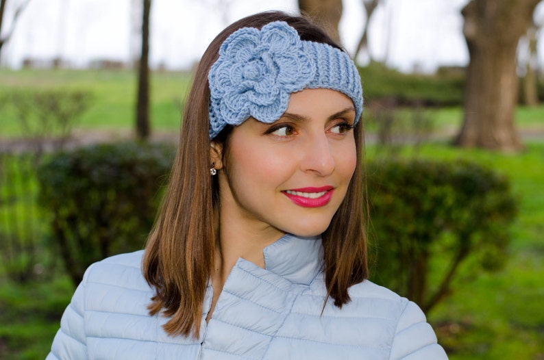 Light Blue Crochet Flower Headband Headband With Flower Etsy