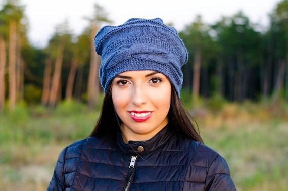 Blue slouchy beanie hat winter hat women fall hats womens  e5b2dcef50a