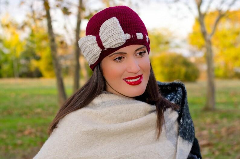 Crochet bow hat bow beanie claret bow hat ribbon hat  4a21d8fbc65