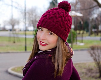 Bordeaux womens pom pom hat, claret hat with pom pom, chunky hat, cable knit hat, womens winter hats, womens knit hat, crochet womens hat