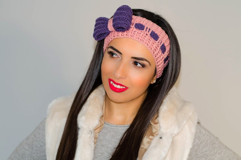 Pink Bow Headband Crochet Bow Headband Womens Knit Headband Etsy
