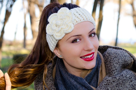 Headband With Flower Womens Knit Headband Womens Crochet Etsy