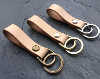 Leather Keyring, Leather Keychain, Leather Key Fob, Simple, Robust, Modern, Handmade, Natural.