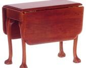 Dollhouse Miniature Jefferson Drop Leaf Table, Walnut Finish T6958