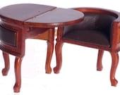 Dollhouse Miniature Chadwick Convertible Table Desk, Walnut Finish P6092
