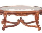 Dollhouse Miniature Glass Top Coffee Table, 18th Century JJ31001WN