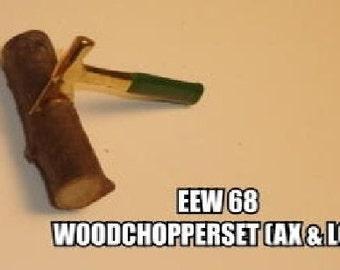 Dollhouse Miniature Woodchopper Set, includes Axe and Log #EEW68