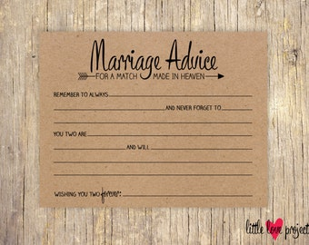 Wedding Advice Cards, Advice for the Bride and Groom, Advice for the Newlyweds, Advice Cards