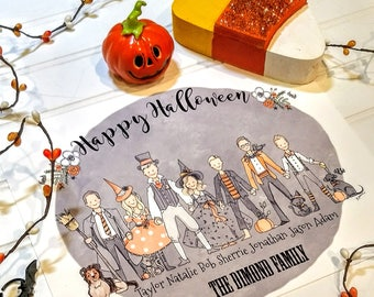 Halloween Family Portrait Illustrated, Custom Gift