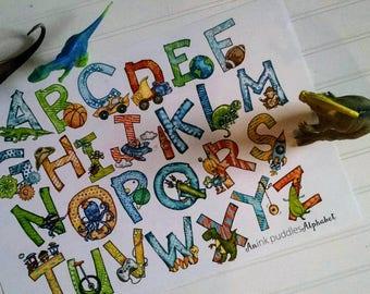 Illustrated Alphabet Print for Boys