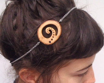 Wooden headband, carved and pyrographed wood slice