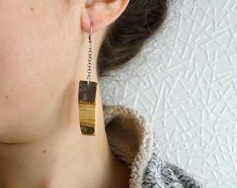 Raw wood earrings, natural wooden earrings