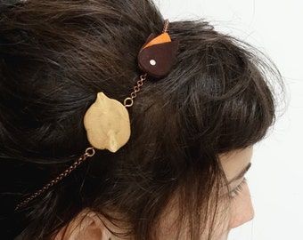Wood slice and leather on headband