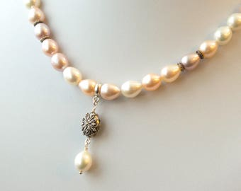 """Freshwater pearl necklace, 16"""" classic pearl necklace, bridal pearl, ombre peach, pink, cream, June birthday, sterling silver, gift for her"""