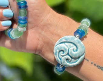 Raku Ceramic Wave Pendant & Fused Glass Stretch Bracelet   Fair Trade African Glass   One Size Fits Most