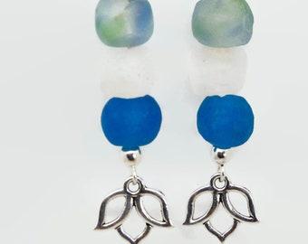 Pick Your Charm Sea Glass Earrings   25+ Charms!   Starfish Mermaid Pawprint Anchor Peace Jewish Star Turtle Tree of Life Hamsa Sun Book