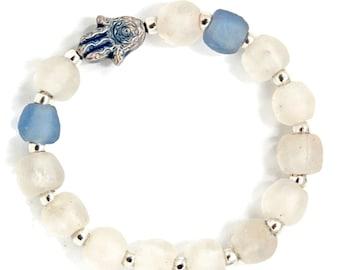 Raku Hamsa on Blue & White Upcycled Fused Sea Glass Stretch Bracelet  Fair Trade African Krobo Glass   One Size Fits Most