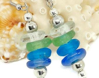 Handmade Fused Sea Glass Earrings   Coastal Tropical Colors   Fair Traded   African Krobo Glass