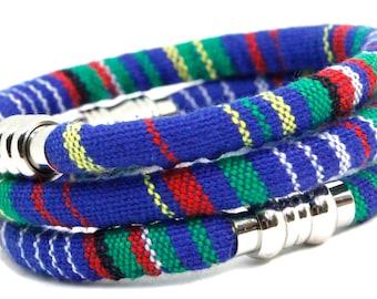 Men's Size MARINE BLUE Woven Cotton Bracelet   Men's Jewelry   Vegan Bohemian Bracelet   Coastal Beach Nautical Jewelry For Him