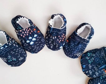 3e8b2048a9d3 Wild flowers baby shoes baby girl booties kids vegan shoes blue girl shoes  baby slippers baby moccasins non slip rubber sole toe guard