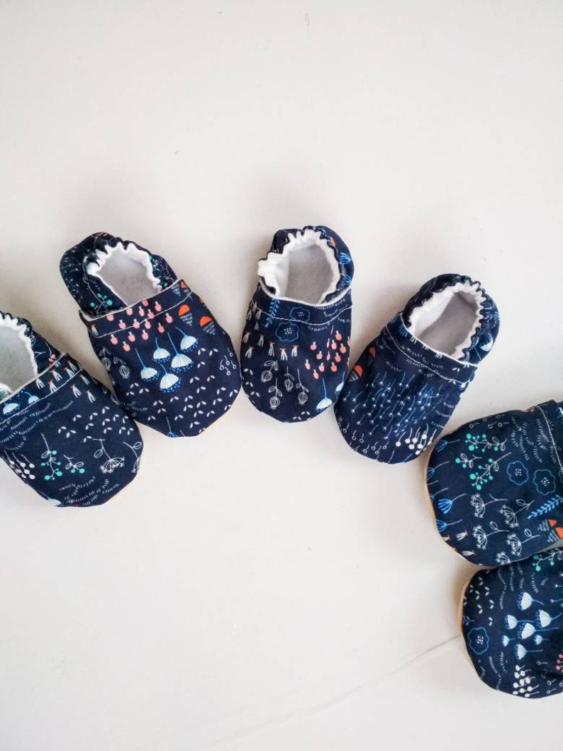 6897e101ea75d Wild flowers baby shoes baby girl booties kids vegan shoes blue girl shoes  baby slippers baby moccasins non slip rubber sole toe guard