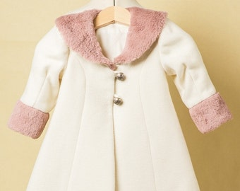 Quartz Rose Ivory Coat For Girls, Pink Fur Baby Girl Coat, Girl Couture Coat, Birthday Outfits, Girl Spring Coat, Girl Pink Fur Coat