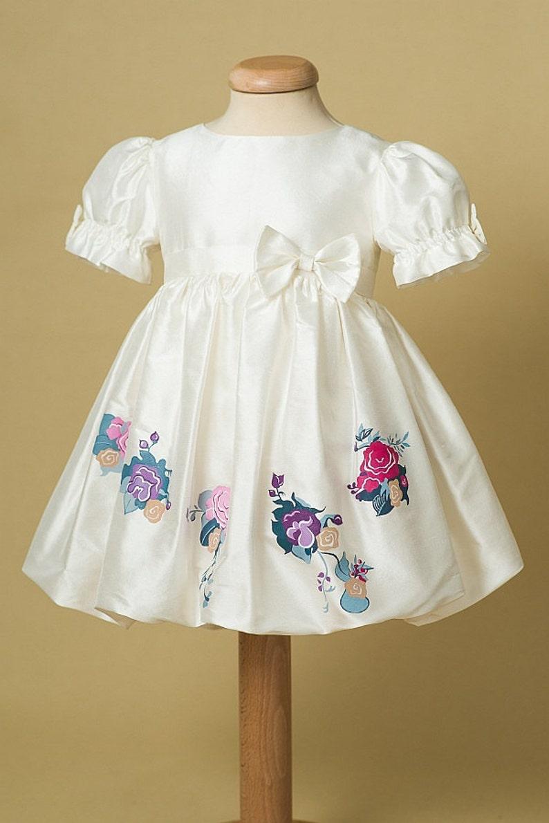 Purple Aquarela Dress Flower Girl Dress Girl Ivory Summer Dress Birthday Dress Baby Girl Bubble Dress Flower Pattern Girl Dress