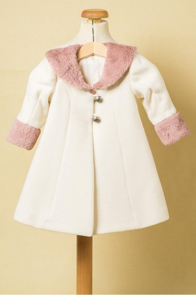Quartz Rose Ivory Coat For Girls Pink Fur Baby Girl Coat image 0
