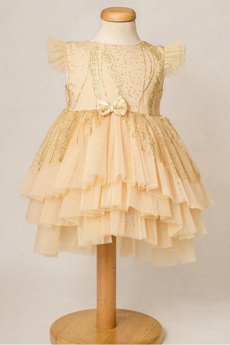 a19e9d22 Little Stardust Dress Christmas Gold Tutu Dress Flower Girl | Etsy